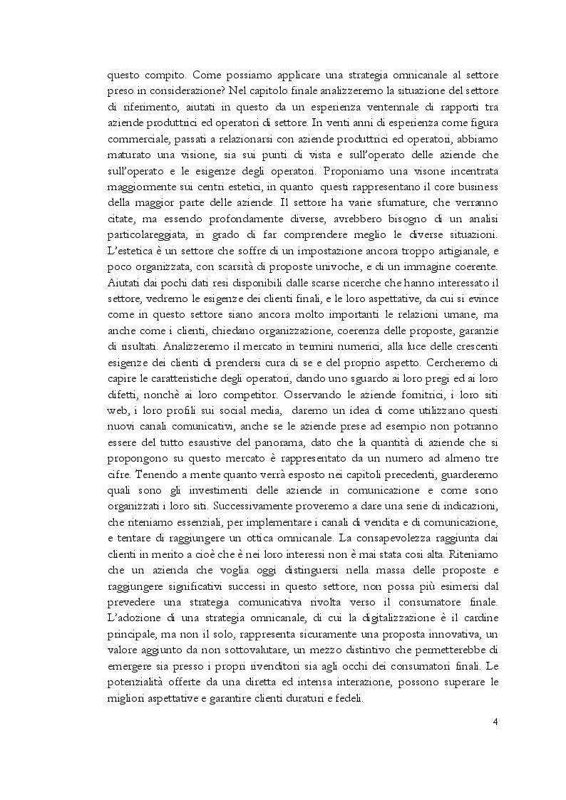 Anteprima della tesi: Estetica professionale. Adottare una strategia omnicanale, per differenziare l'offerta e creare valore aggiunto, Pagina 5