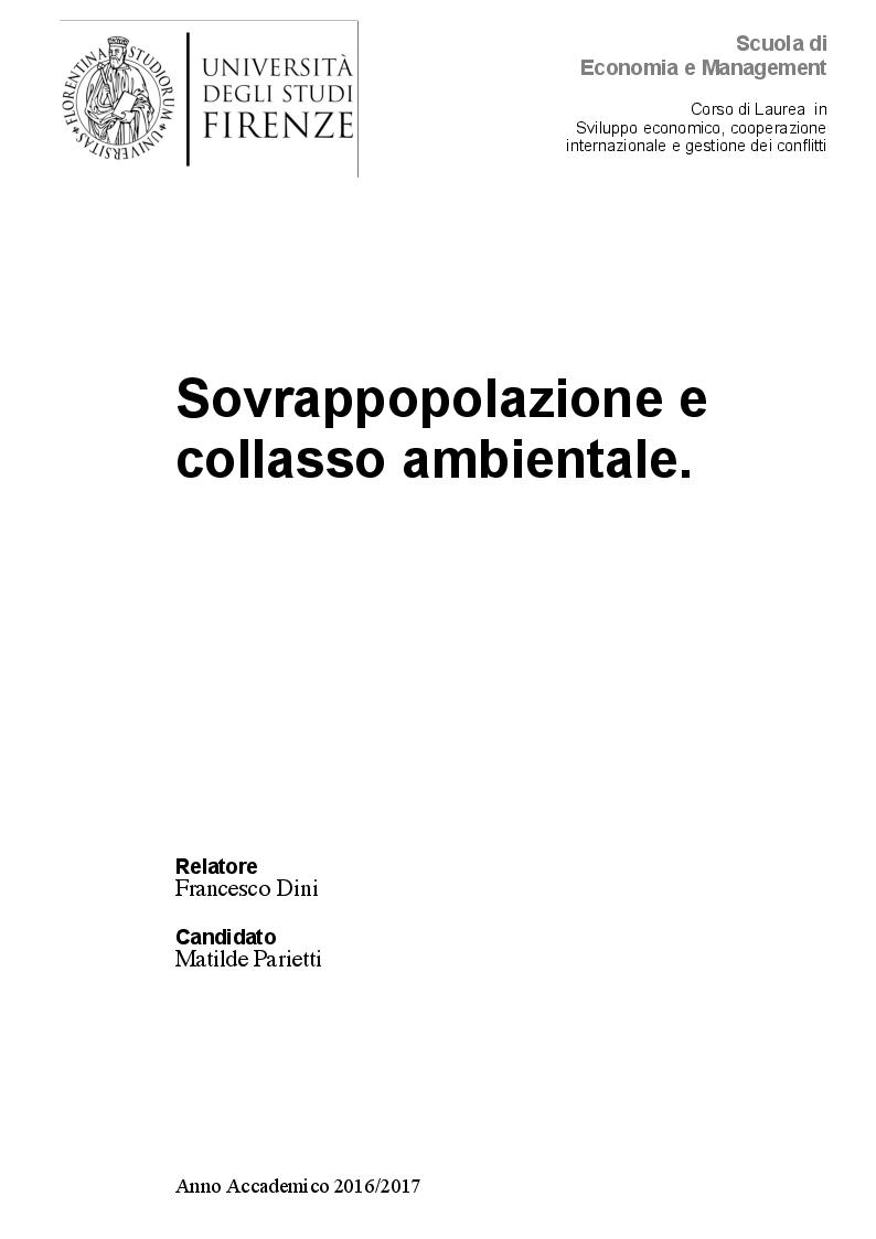 Anteprima della tesi: Sovrappopolazione e collasso ambientale, Pagina 1