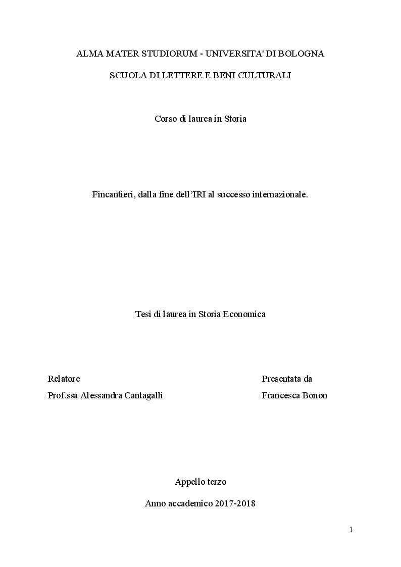 Anteprima della tesi: Fincantieri, dalla fine dell'IRI al successo internazionale, Pagina 1