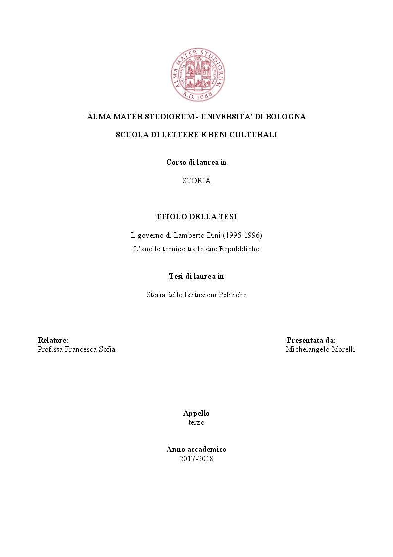 Anteprima della tesi: Il governo di Lamberto Dini (1995-1996). L'anello tecnico tra le due repubbliche, Pagina 1