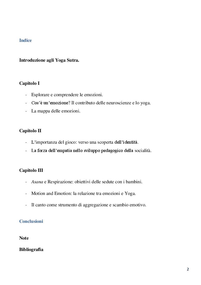 Indice della tesi: Lo yoga: uno strumento pedagogico di alfabetizzazione emotiva per lo sviluppo empatico e sociale del bambino, Pagina 1