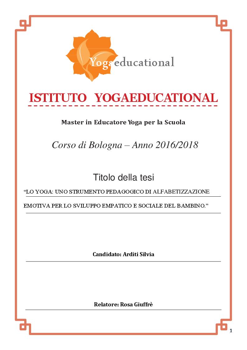 Anteprima della tesi: Lo yoga: uno strumento pedagogico di alfabetizzazione emotiva per lo sviluppo empatico e sociale del bambino, Pagina 1