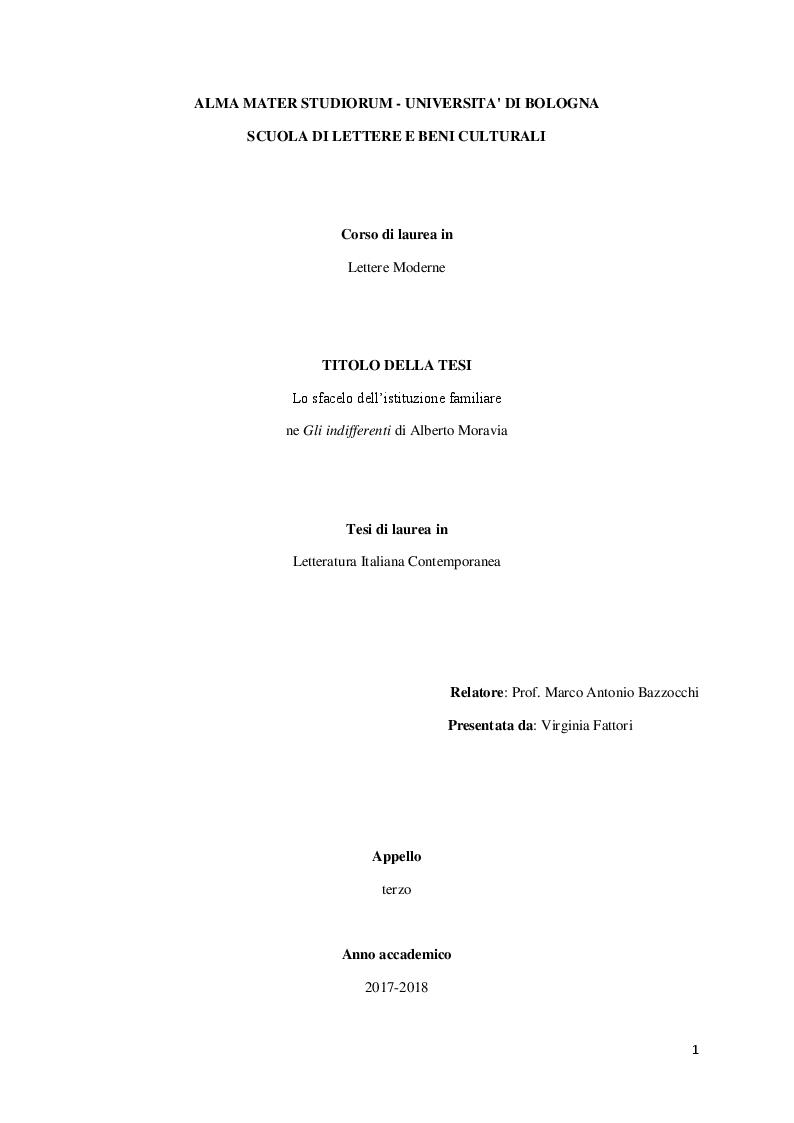 """Anteprima della tesi: Lo sfacelo dell'istituzione familiare ne """"Gli indifferenti"""" di Alberto Moravia, Pagina 1"""