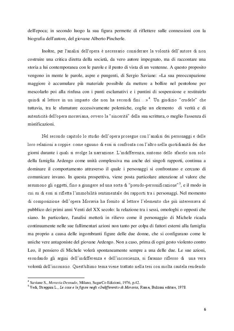 """Anteprima della tesi: Lo sfacelo dell'istituzione familiare ne """"Gli indifferenti"""" di Alberto Moravia, Pagina 3"""