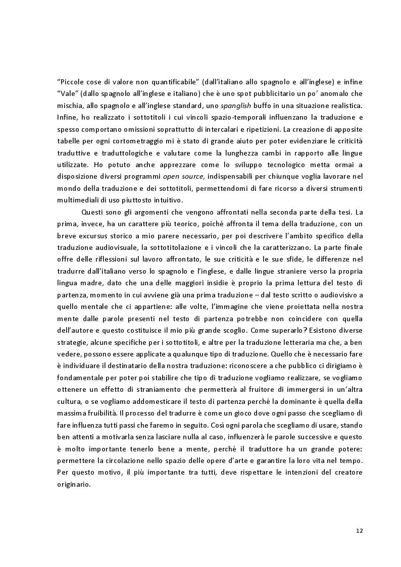 Anteprima della tesi: Viaggio attraverso la traduzione e sottotitolazione di quattro cortometraggi tra inglese, spagnolo e italiano, Pagina 5