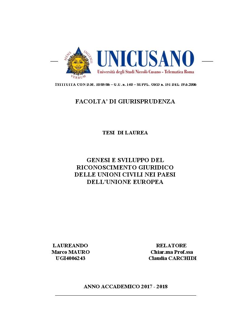 Anteprima della tesi: Genesi e sviluppo del riconoscimento giuridico delle unioni civili nei paesi dell'Unione Europea, Pagina 1
