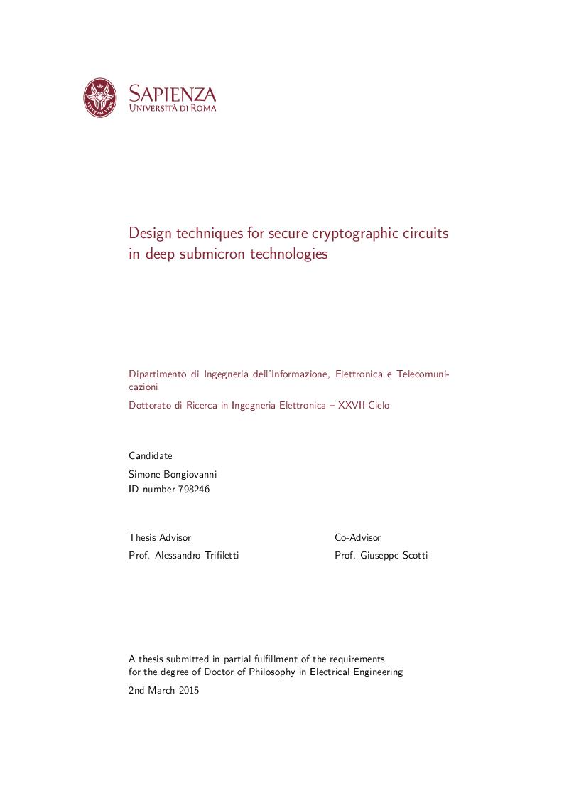 Anteprima della tesi: Design techniques for secure cryptographic circuits in deep submicron technologies, Pagina 1