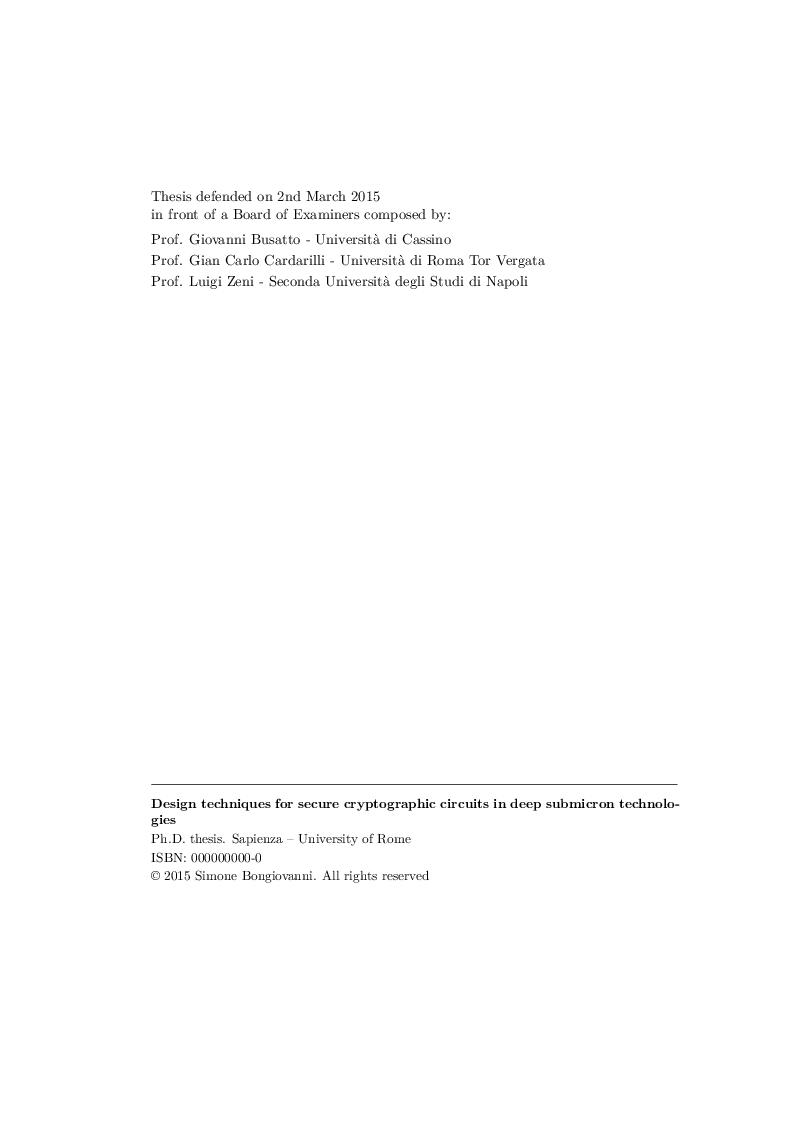 Anteprima della tesi: Design techniques for secure cryptographic circuits in deep submicron technologies, Pagina 2