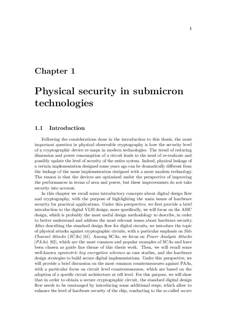 Anteprima della tesi: Design techniques for secure cryptographic circuits in deep submicron technologies, Pagina 3