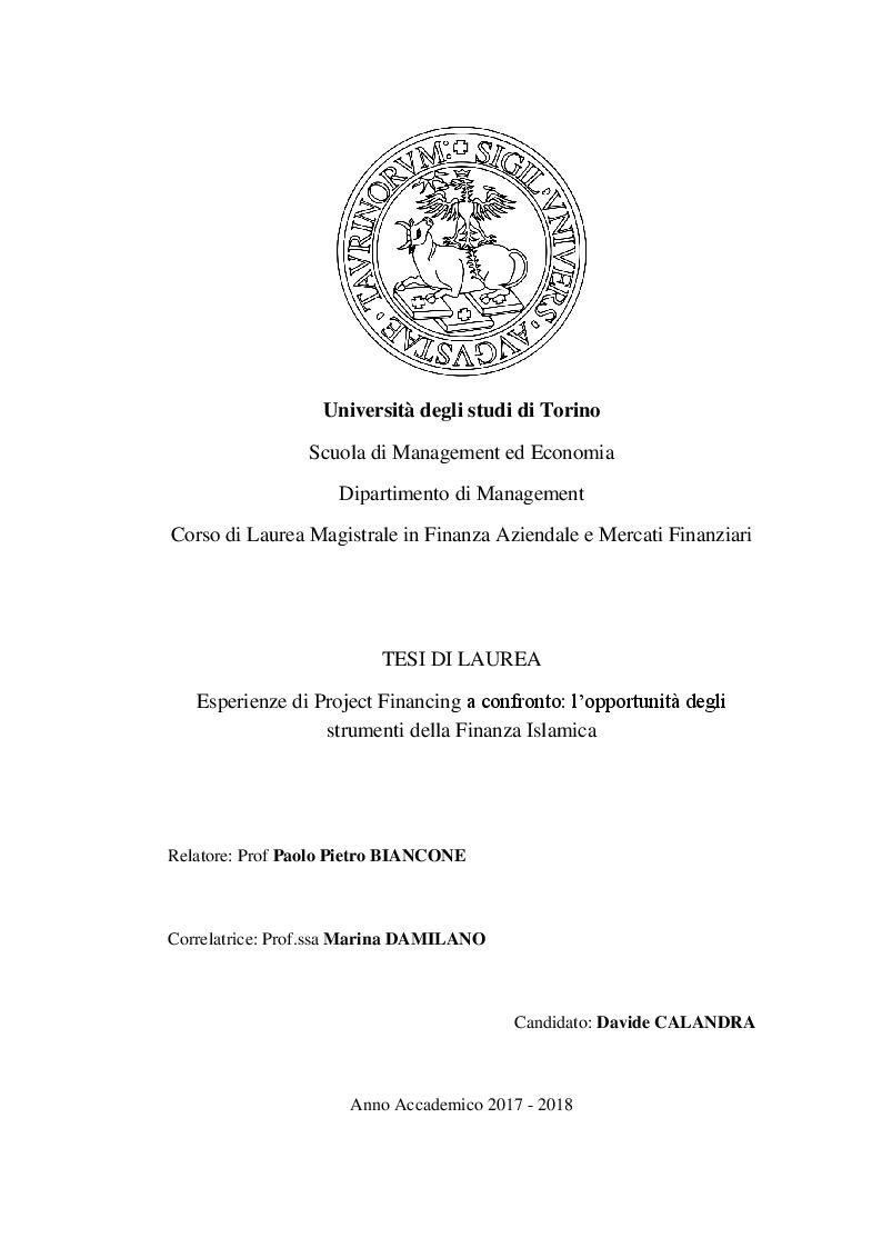 Anteprima della tesi: Esperienze di Project Financing a confronto: l'opportunità degli strumenti della Finanza Islamica, Pagina 1