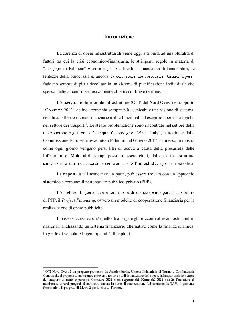 Anteprima della tesi: Esperienze di Project Financing a confronto: l'opportunità degli strumenti della Finanza Islamica, Pagina 2