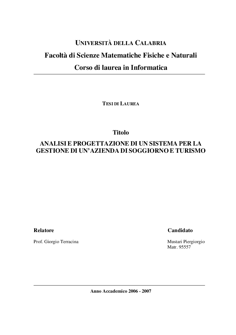 Anteprima della tesi: Analisi e Progettazione di un sistema per la gestione di un'azienda di soggiorno e turismo, Pagina 1