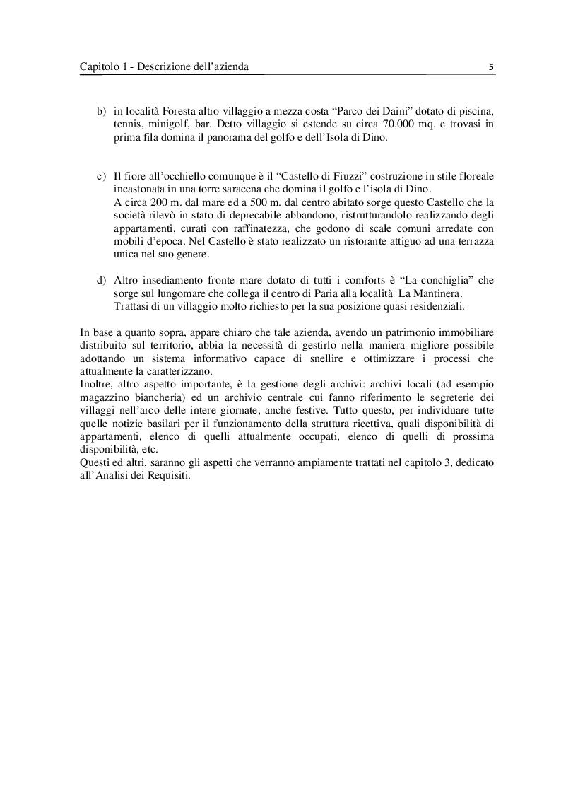 Anteprima della tesi: Analisi e Progettazione di un sistema per la gestione di un'azienda di soggiorno e turismo, Pagina 5