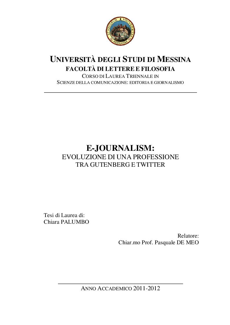 Anteprima della tesi: E-Journalism: Evoluzione di una professione tra Gutenberg e Twitter, Pagina 1