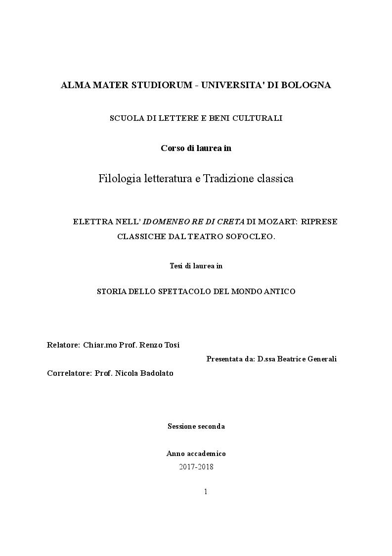 Anteprima della tesi: Elettra nell'Idomeneo Re di Creta di Mozart: riprese classiche dal teatro sofocleo, Pagina 1