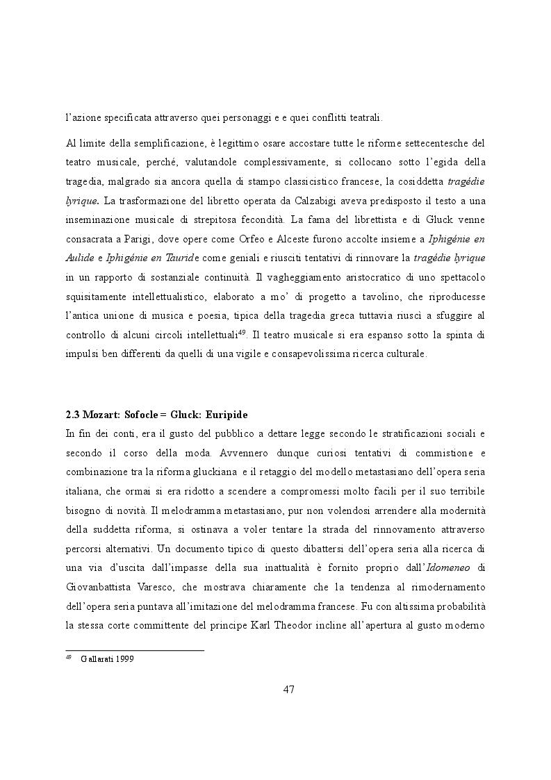 Anteprima della tesi: Elettra nell'Idomeneo Re di Creta di Mozart: riprese classiche dal teatro sofocleo, Pagina 5