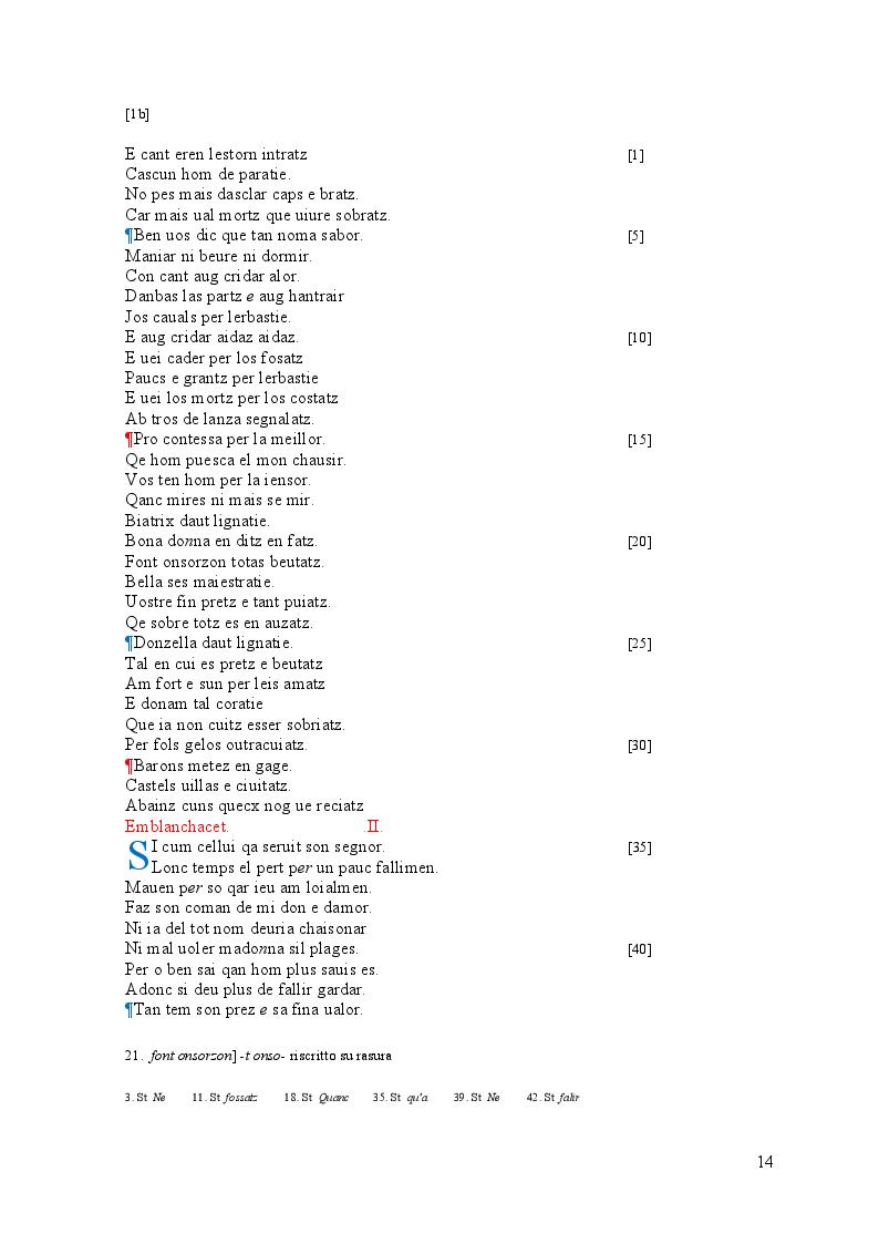 Estratto dalla tesi: Edizione interpretativa, traduzione e commento del primo contingente di liriche tràdito dal canzoniere provenzale P.