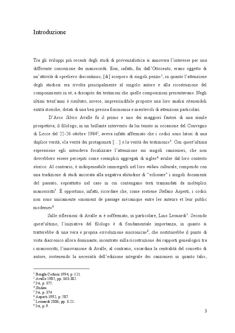 Anteprima della tesi: Edizione interpretativa, traduzione e commento del primo contingente di liriche tràdito dal canzoniere provenzale P., Pagina 2