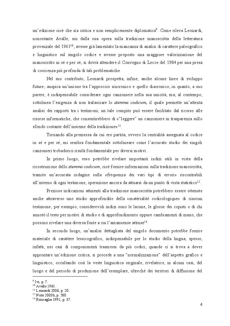 Anteprima della tesi: Edizione interpretativa, traduzione e commento del primo contingente di liriche tràdito dal canzoniere provenzale P., Pagina 3