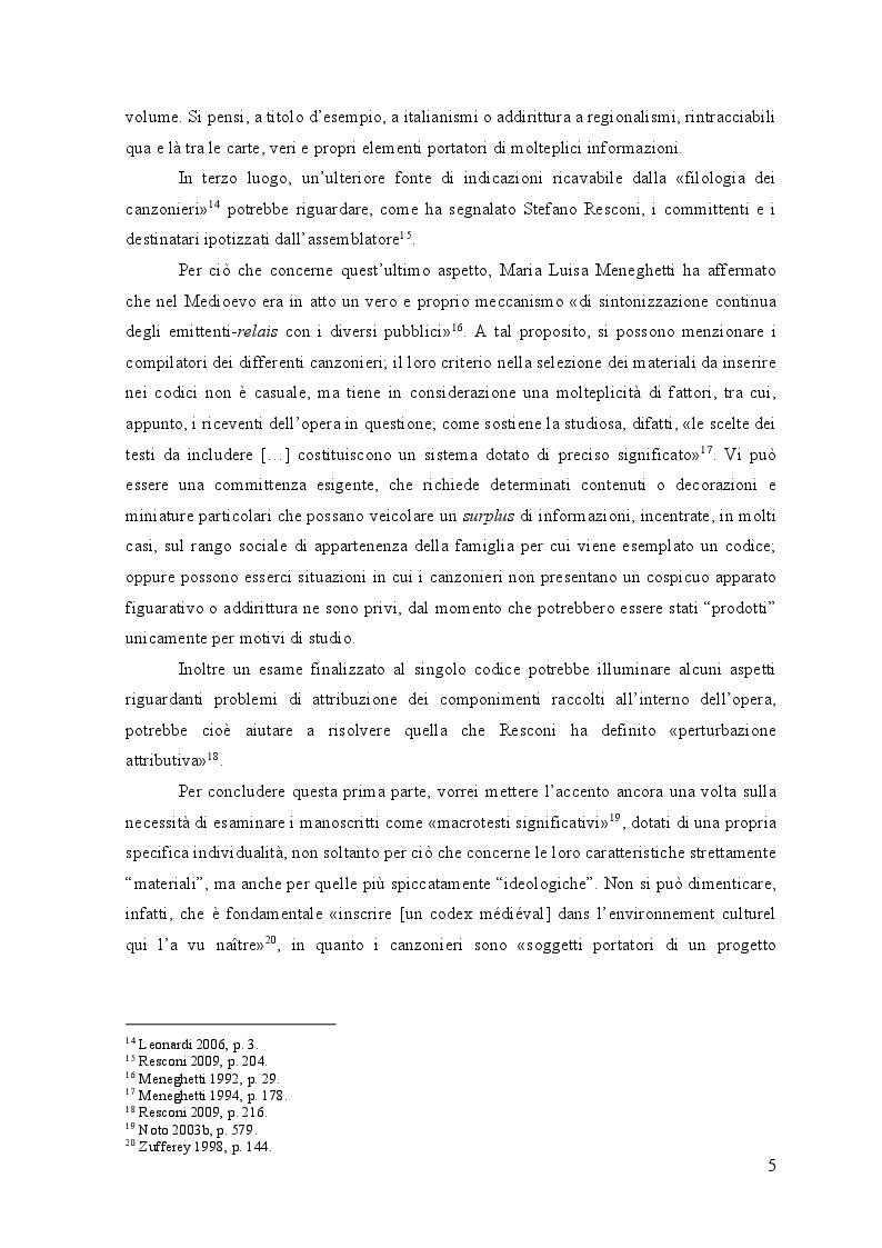 Anteprima della tesi: Edizione interpretativa, traduzione e commento del primo contingente di liriche tràdito dal canzoniere provenzale P., Pagina 4