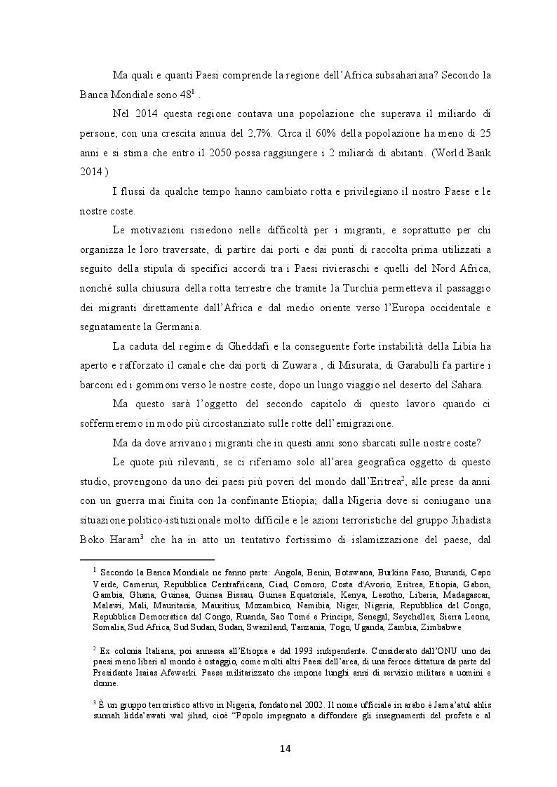 Estratto dalla tesi: I flussi migratori dall'Africa subsahariana verso l'Italia