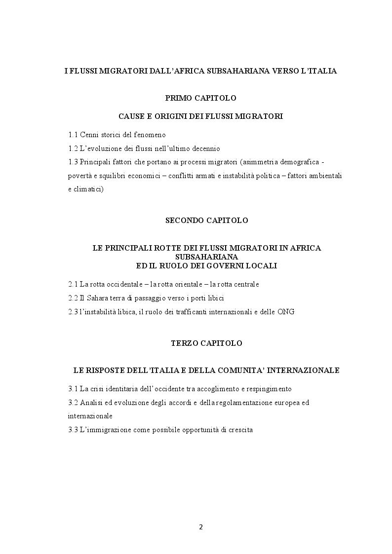 Indice della tesi: I flussi migratori dall'Africa subsahariana verso l'Italia, Pagina 1