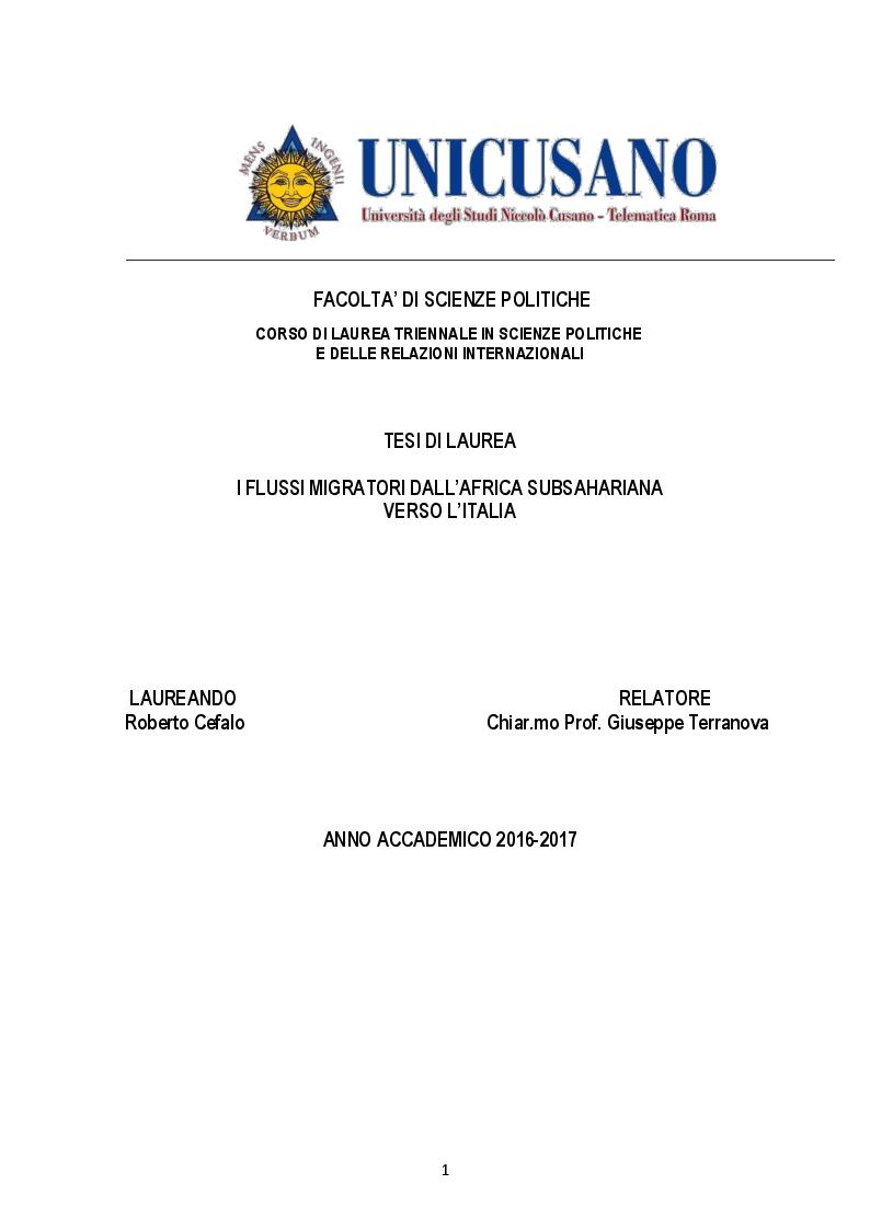 Anteprima della tesi: I flussi migratori dall'Africa subsahariana verso l'Italia, Pagina 1