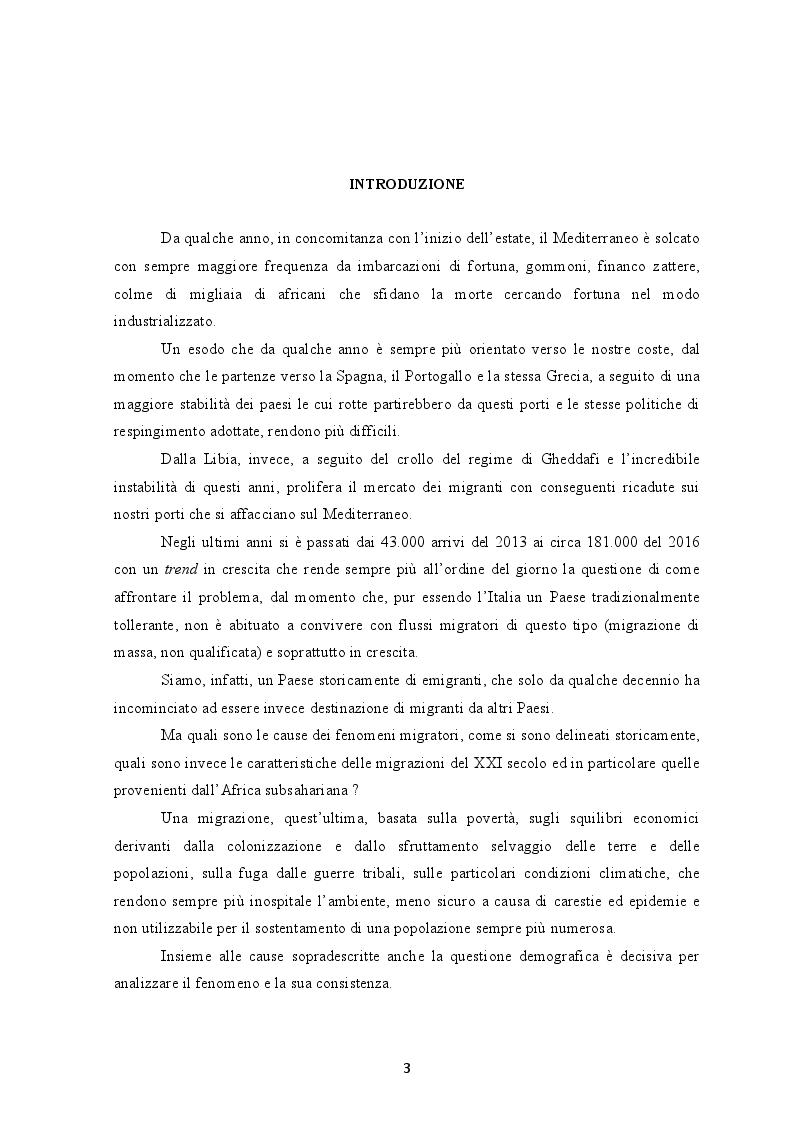 Anteprima della tesi: I flussi migratori dall'Africa subsahariana verso l'Italia, Pagina 2