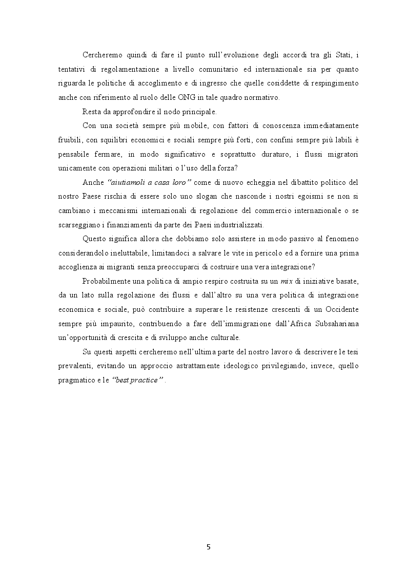 Anteprima della tesi: I flussi migratori dall'Africa subsahariana verso l'Italia, Pagina 4