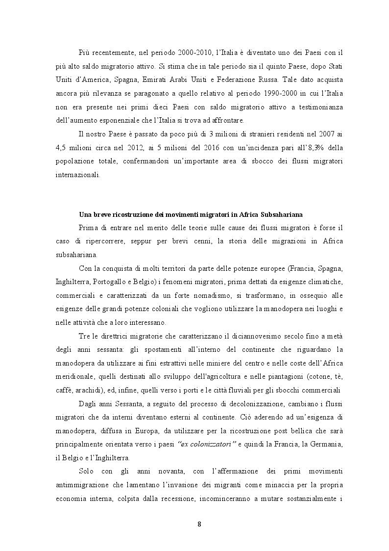 Anteprima della tesi: I flussi migratori dall'Africa subsahariana verso l'Italia, Pagina 7