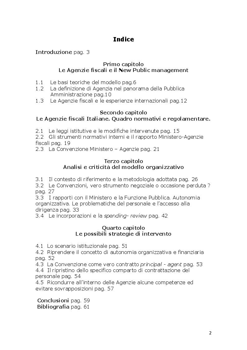 Indice della tesi: L'innovazione ed il cambiamento nella PA Italiana. Il modello Agenzie fiscali. Esperienze e prospettive a circa venti anni dalla loro istituzione, Pagina 1