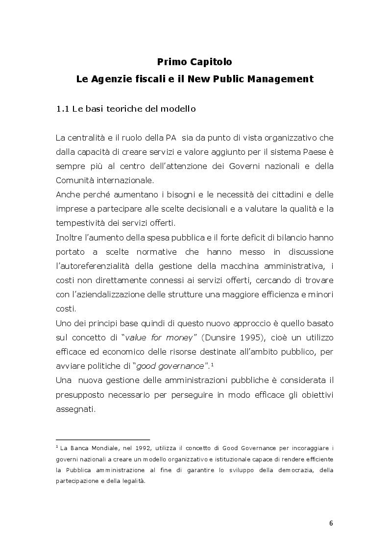 Anteprima della tesi: L'innovazione ed il cambiamento nella PA Italiana. Il modello Agenzie fiscali. Esperienze e prospettive a circa venti anni dalla loro istituzione, Pagina 5
