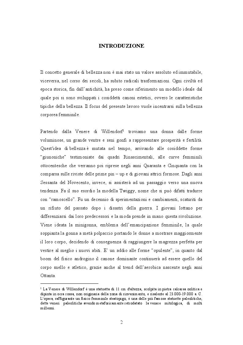 Anteprima della tesi: Lo stereotipo del corpo femminile imposto dai mass media : Anni 50' e III Millennio a confronto, Pagina 2