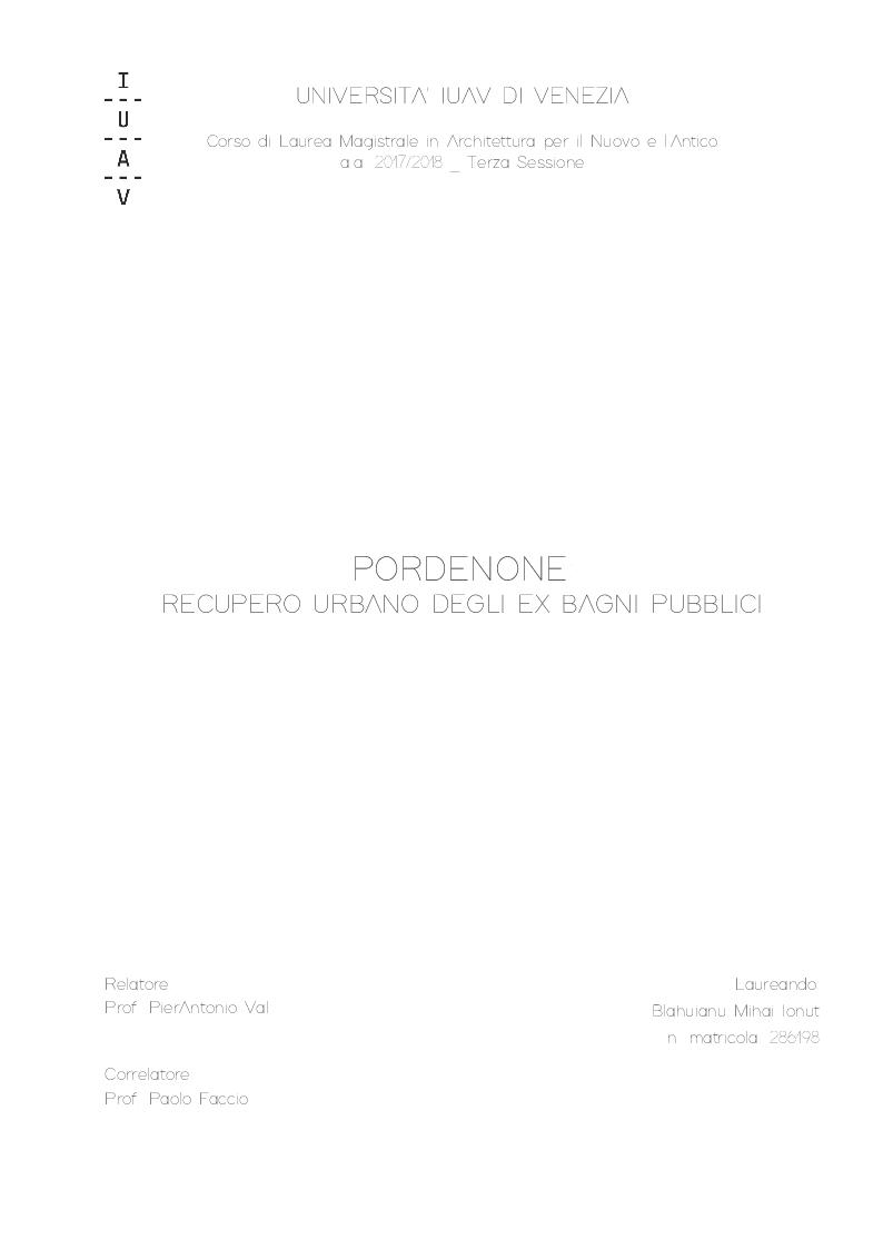 Anteprima della tesi: Pordenone: Recupero urbano degli ex bagni di Pordenone, Pagina 1