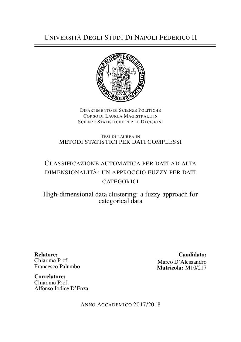 Anteprima della tesi: Classificazione automatica per dati ad alta dimensionalità: un approccio fuzzy per dati categorici, Pagina 1