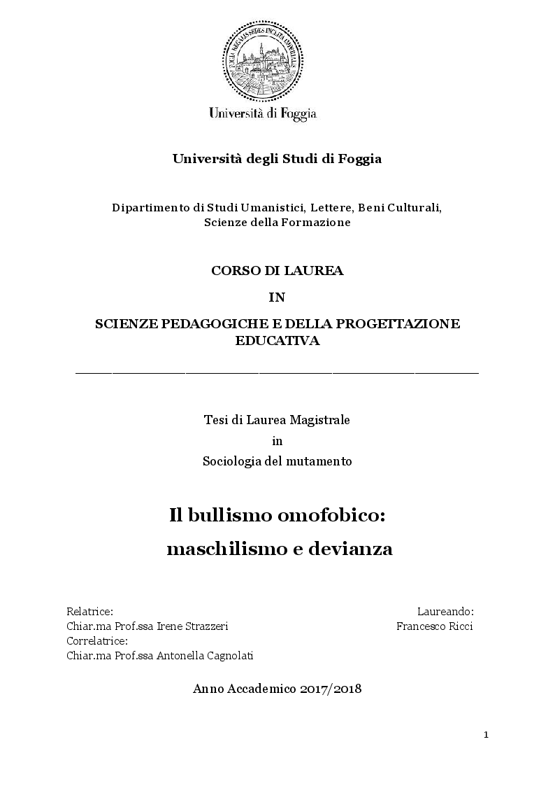Anteprima della tesi: Il bullismo omofobico: maschilismo e devianza, Pagina 1