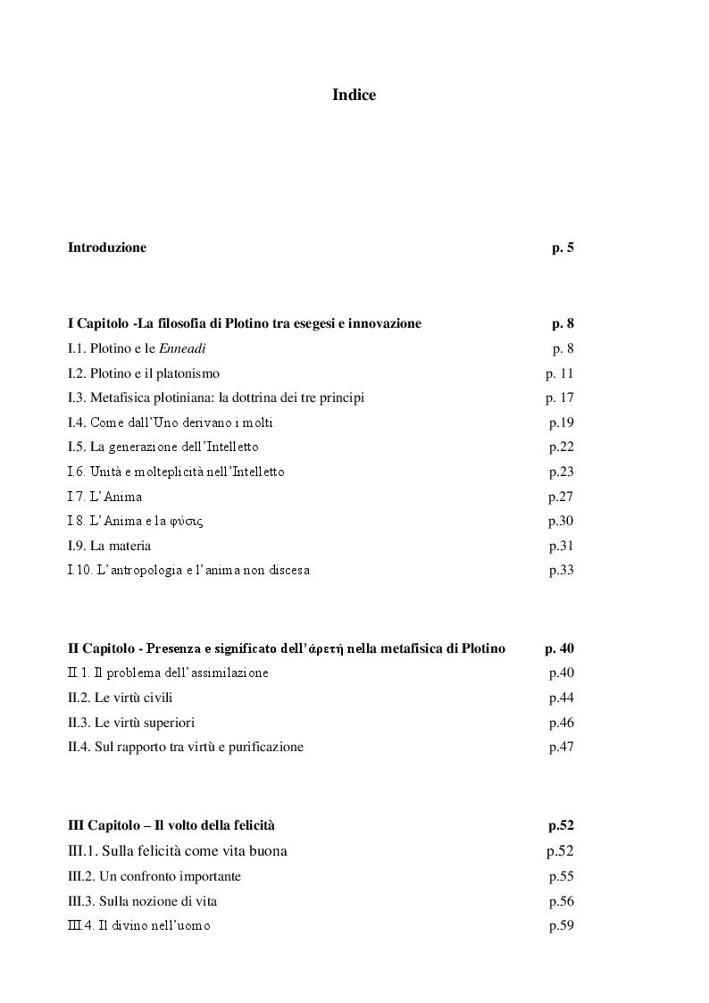 Indice della tesi: Felicità e virtù in Plotino, Pagina 1