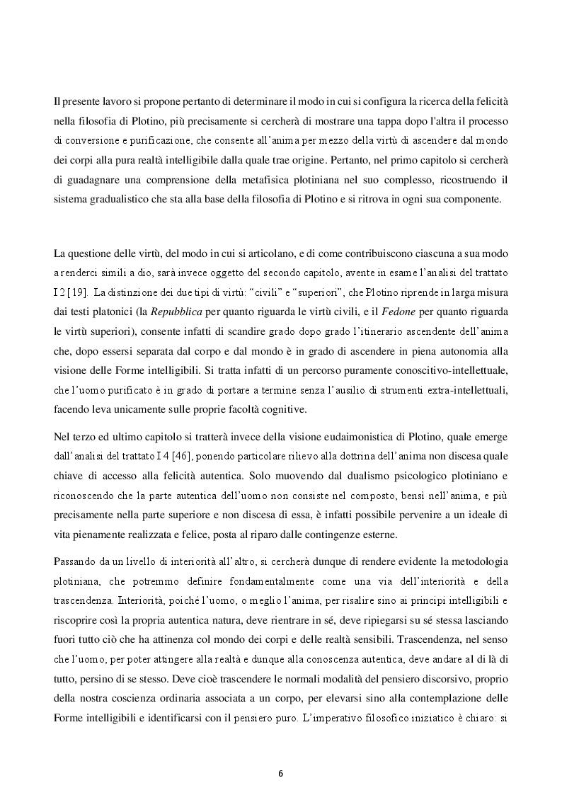 Anteprima della tesi: Felicità e virtù in Plotino, Pagina 3