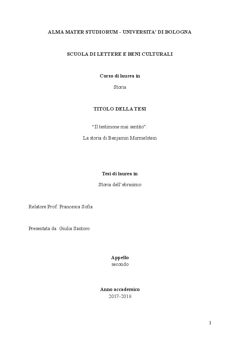 """Anteprima della tesi: """"Il testimone mai sentito"""": La storia di Benjamin Murmelstein, Pagina 1"""