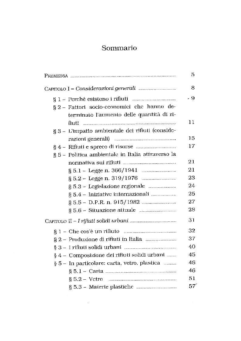 Indice della tesi: Lo smaltimento dei rifiuti solidi urbani. Situazioni e prospettive nella città di Salerno., Pagina 1