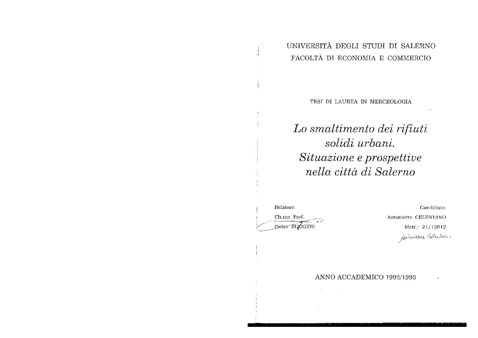 Anteprima della tesi: Lo smaltimento dei rifiuti solidi urbani. Situazioni e prospettive nella città di Salerno., Pagina 1