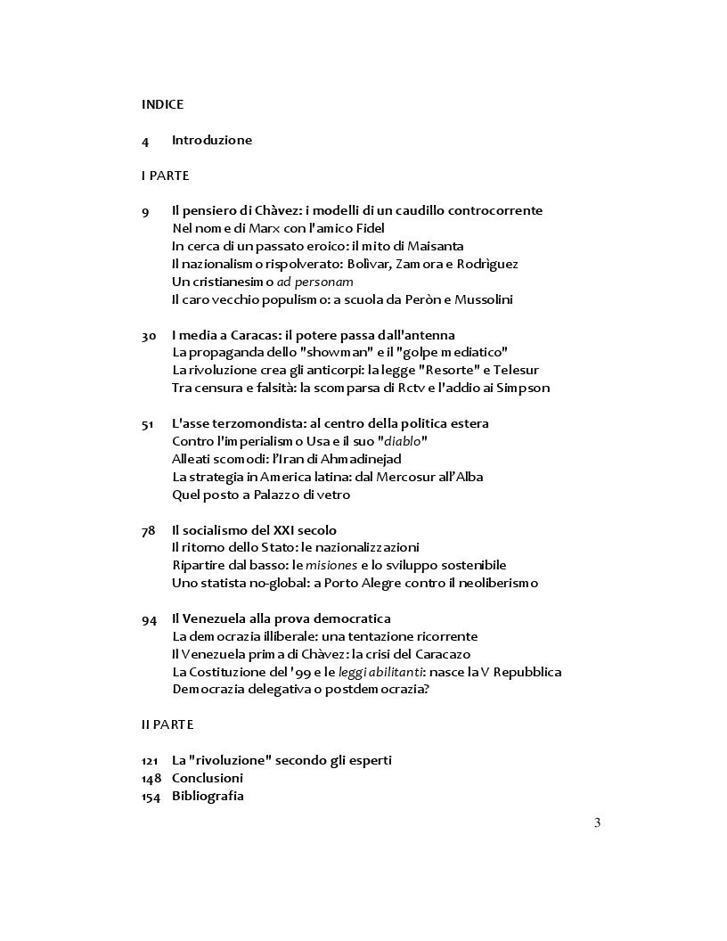 Indice della tesi: Hugo Chàvez: il caudillo carismatico tra populismo e socialismo, Pagina 1