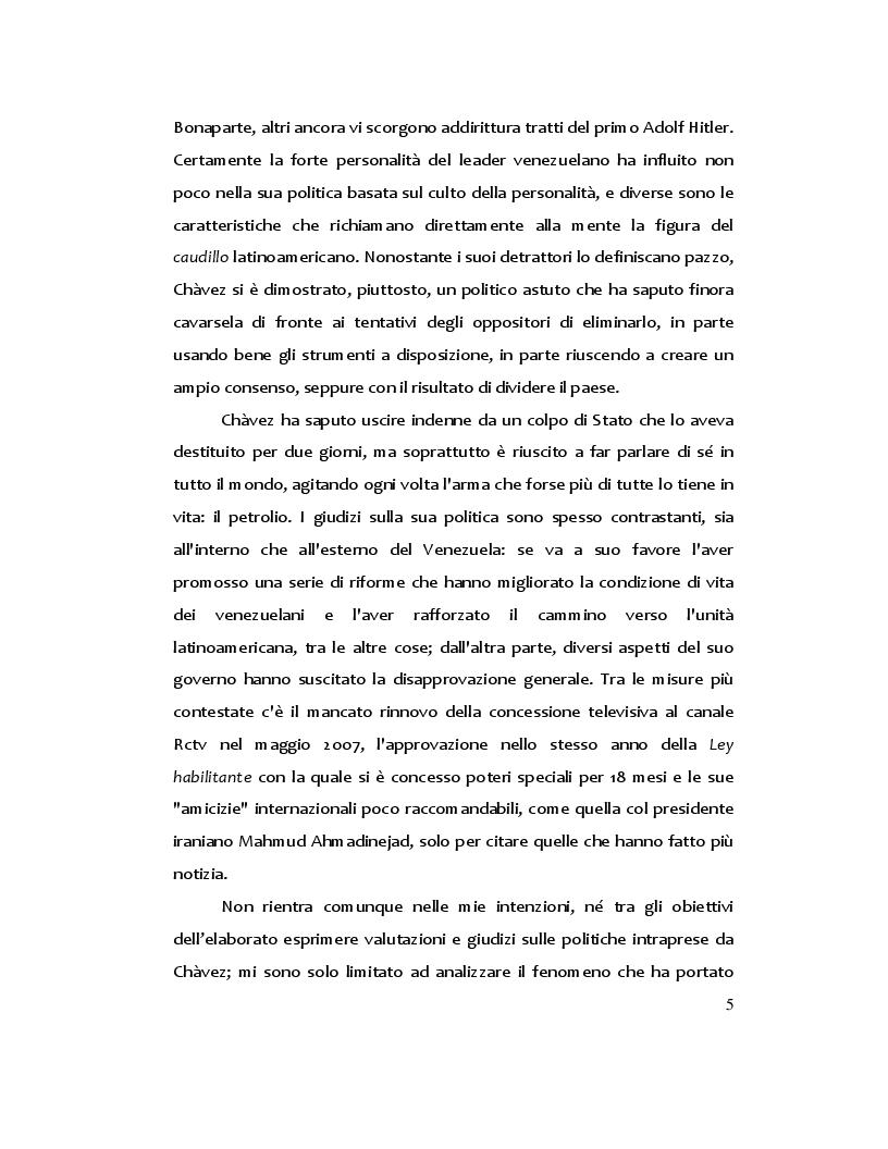 Anteprima della tesi: Hugo Chàvez: il caudillo carismatico tra populismo e socialismo, Pagina 3