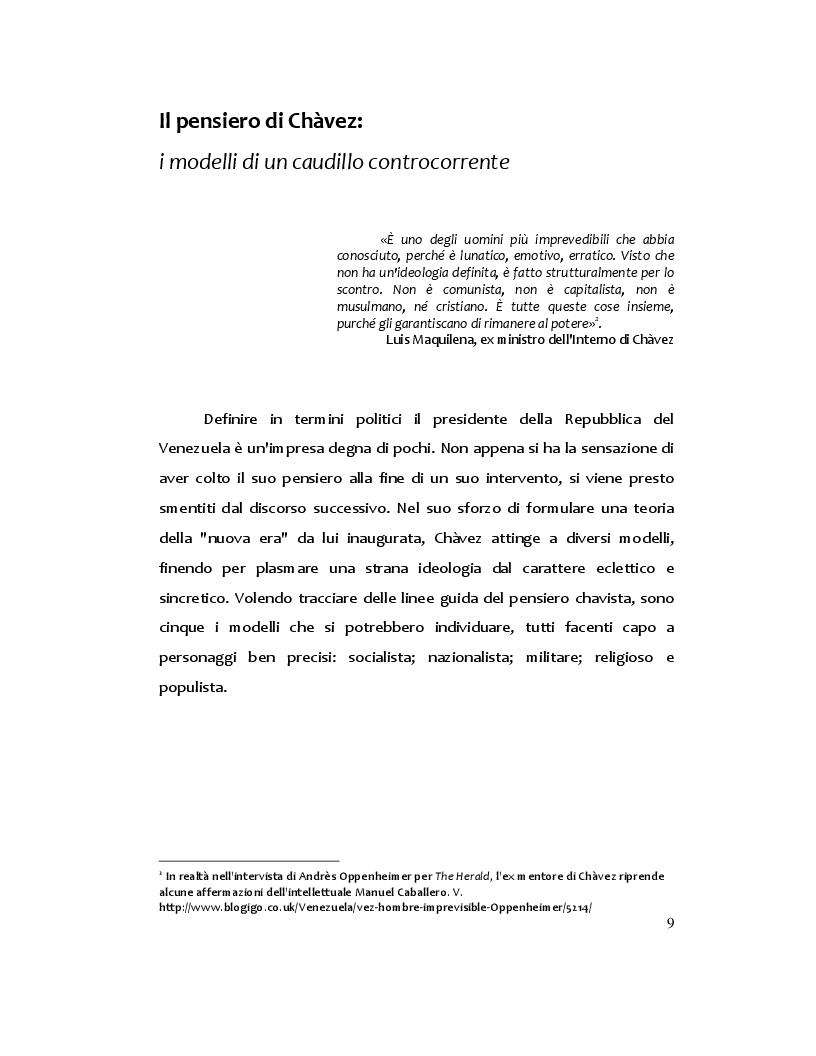 Anteprima della tesi: Hugo Chàvez: il caudillo carismatico tra populismo e socialismo, Pagina 6