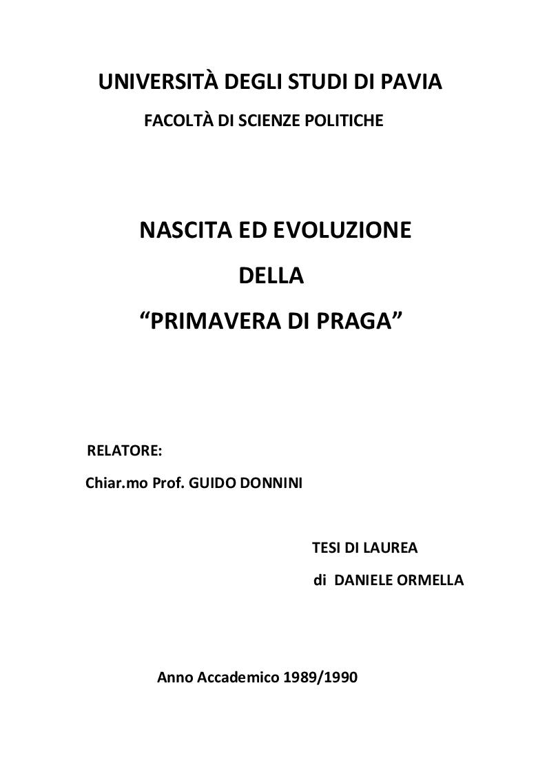 Anteprima della tesi: Nascita ed evoluzione della Primavera di Praga, Pagina 1
