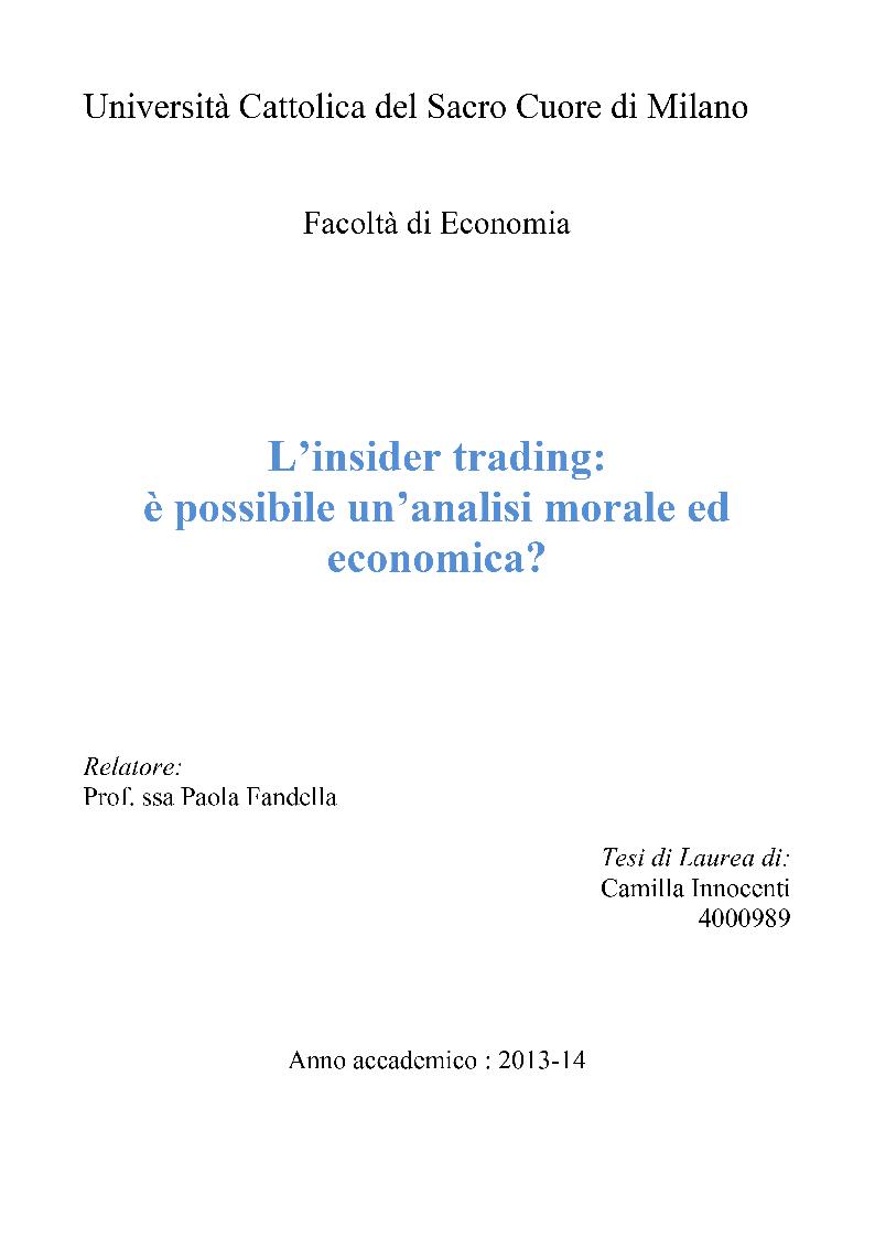 Anteprima della tesi: L'insider trading: è possibile un'analisi morale ed economica?, Pagina 1