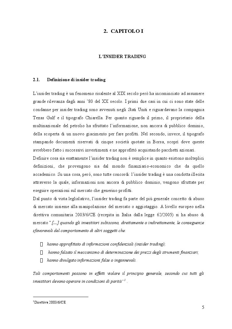 Anteprima della tesi: L'insider trading: è possibile un'analisi morale ed economica?, Pagina 4
