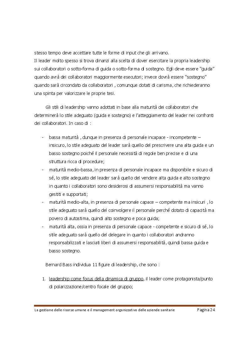 Estratto dalla tesi: La gestione delle risorse umane e il management organizzativo delle aziende sanitarie