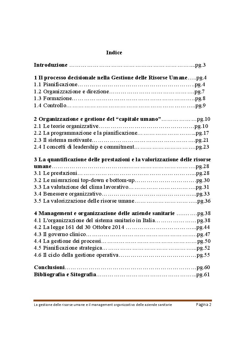 Indice della tesi: La gestione delle risorse umane e il management organizzativo delle aziende sanitarie, Pagina 1