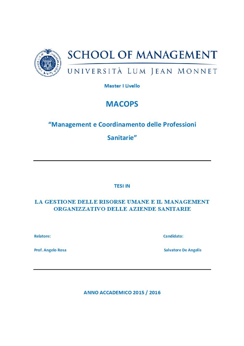 Anteprima della tesi: La gestione delle risorse umane e il management organizzativo delle aziende sanitarie, Pagina 1